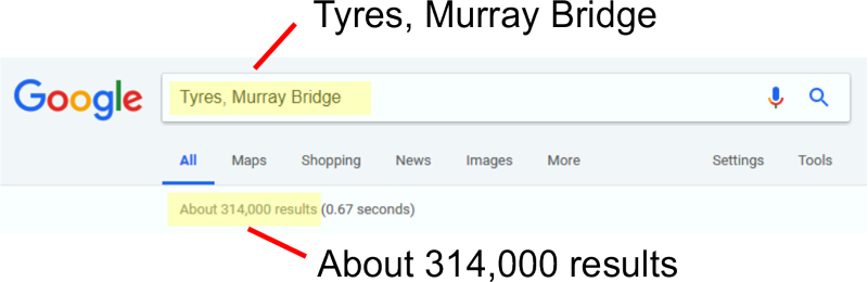"Google search box ""Tyres, Murray Bridge"""